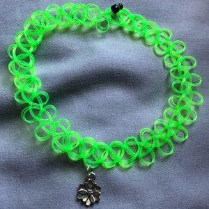 Jewelry - Neon green lotus tattoo choker